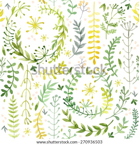 Pattern of flowers painted in watercolor on white paper. Sketch of flowers and herbs. Wreath, garland of flowers. Vector watercolor - stock vector