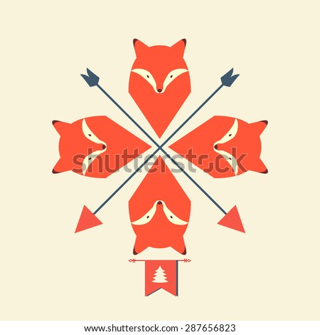 Pattern of foxes with arrows - stock vector