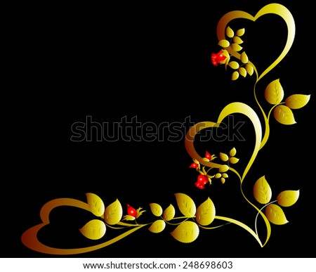 Pattern of gold hearts and red rose bud. EPS10 vector illustration. - stock vector