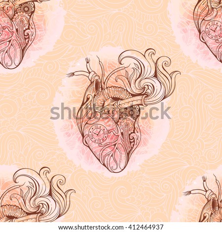 Pattern of heart in steampunk style with floral background. - stock vector