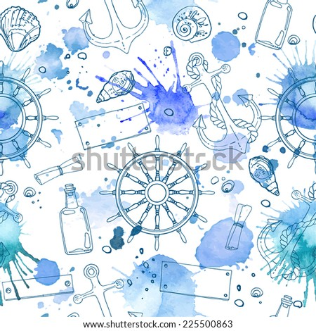 Pattern of seashells on the beach, a color line on a white background. Hand drawn seamless pattern. Abstract blue spots on a white background - stock vector