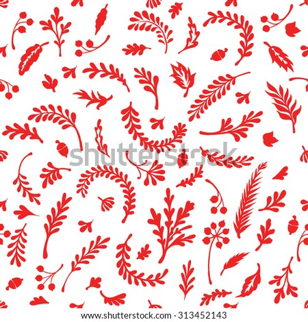 Pattern  of silhouette of leaves and plants. Vector illustration. doodle style - stock vector
