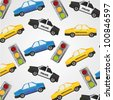 pattern of small police cars, taxis and traffic lights - stock vector