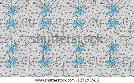 PATTERN OF STYLIZED FLOWERS, CURLS AND DROPS ON LIGHT GREY BACKGROUND - stock vector