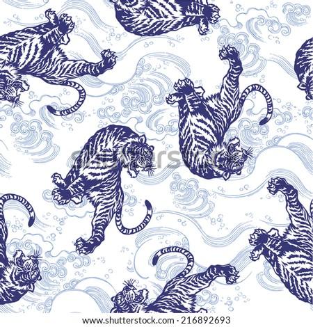 pattern of tiger - stock vector