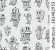 pattern of toy robots - stock vector