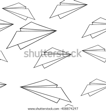 pattern paper plane. Doodled paper planes seamless vector pattern. Paper airplane seamless pattern. Black and white hand-drawn background. - stock vector