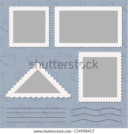 pattern post stamp set - stock vector