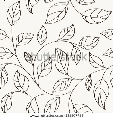 Pattern seamless leaves.Background with twigs of tree - stock vector