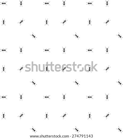 Pattern seamless vector ant worker emmet pismire fly black and white - stock vector