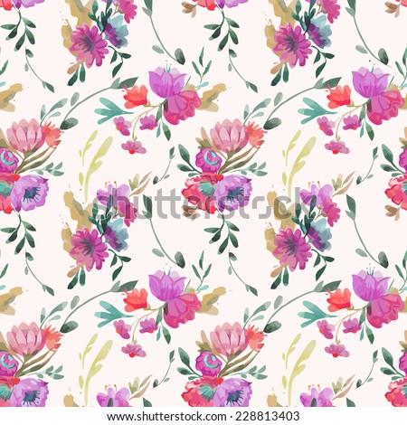 pattern, watercolor, bouquet - stock vector