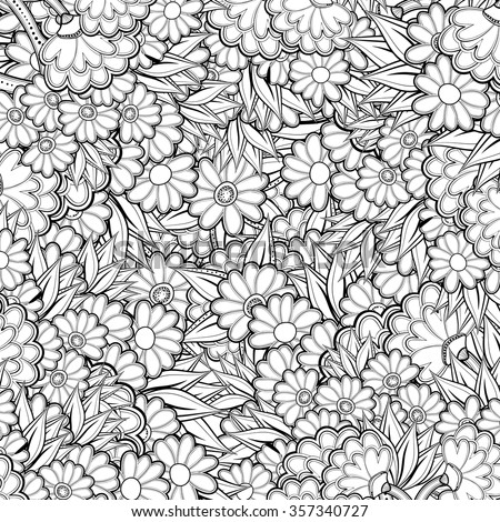 Abstract Flower Coloring Pages For Adults Flowers Design