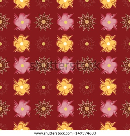 Pattern with abstract pink and yellow flowers on red background. - stock vector