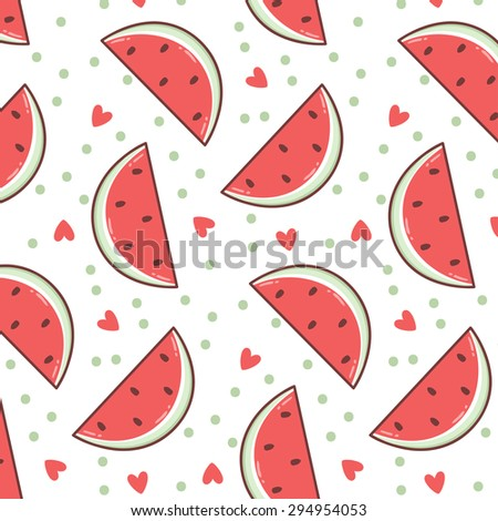 Pattern With Cute Cartoon Watermelon Slices Hearts And