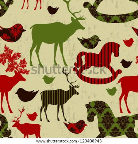 Pattern with deers and rocking horses Retro Christmas pattern Seamless christmas background - stock vector