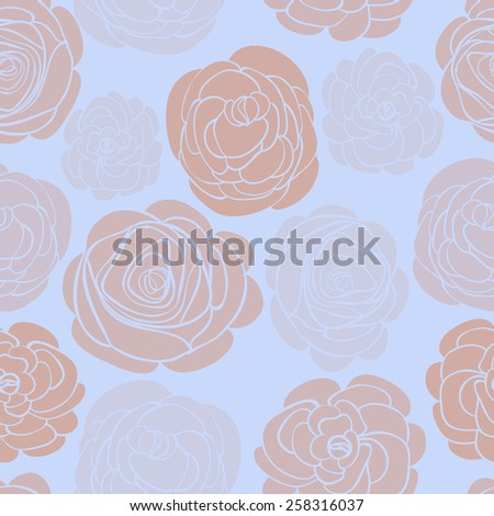 Pattern with delicate roses on blue. Vector illustration - stock vector