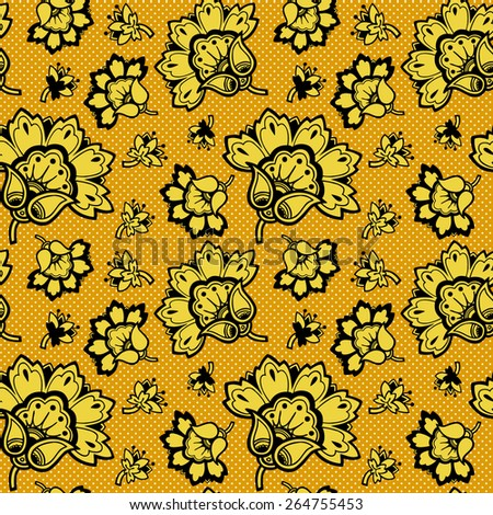 Pattern with floral ornament. Vector pattern. - stock vector