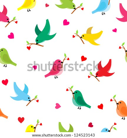 Pattern with flying birds carrying a branch with a heart. Seamless pattern can be used for wallpaper, pattern fills, web page background,surface textures. - stock vector