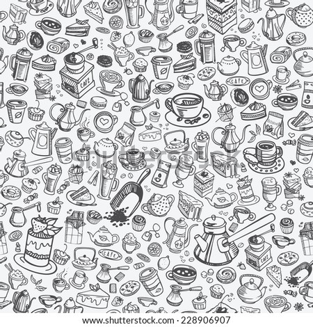 pattern with hand drawn coffee and confectionery, vector - stock vector