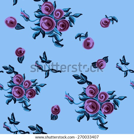 Pattern with hand-drawn roses - stock vector