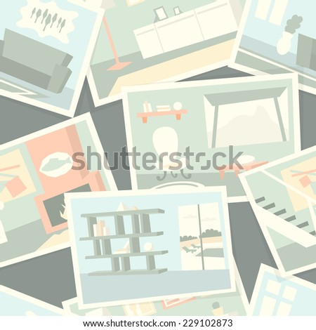 Pattern with home interior photos. Vector illustration. - stock vector