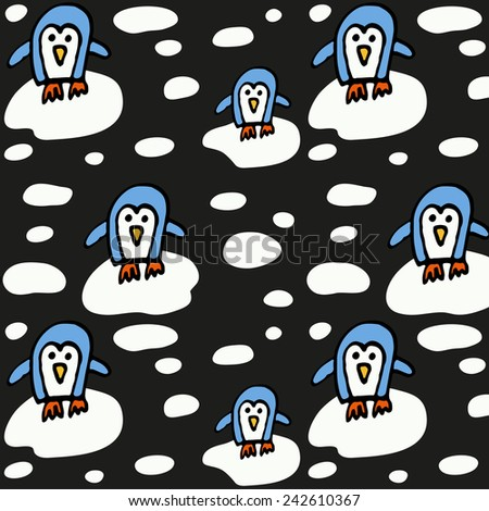 Pattern with little pinguin on the ice. - stock vector