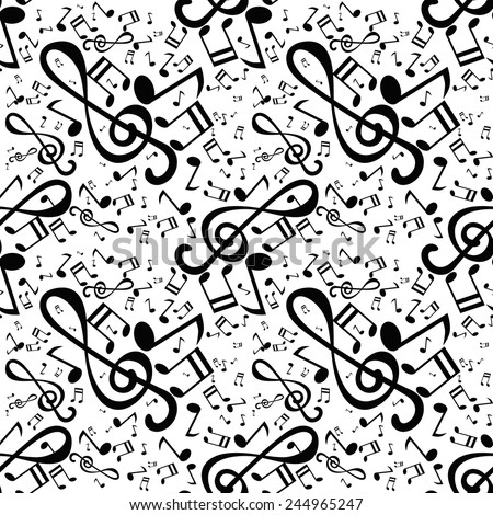 pattern with musical notes - stock vector