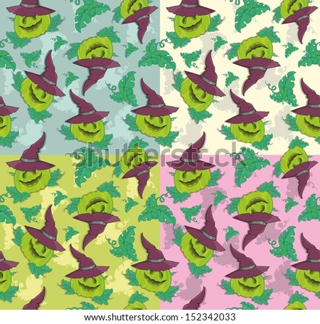pattern with pumpkin hat for Halloween - stock vector