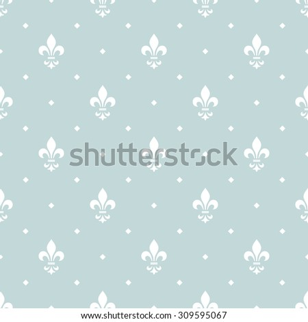 Pattern with royal lily. Seamless vector background. White and blue floral ornament. - stock vector