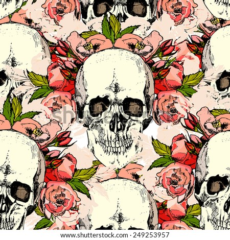 Pattern with skull. hand draw. vector. - stock vector
