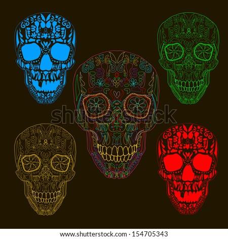 Pattern with sugar skulls. Vector version. - stock vector