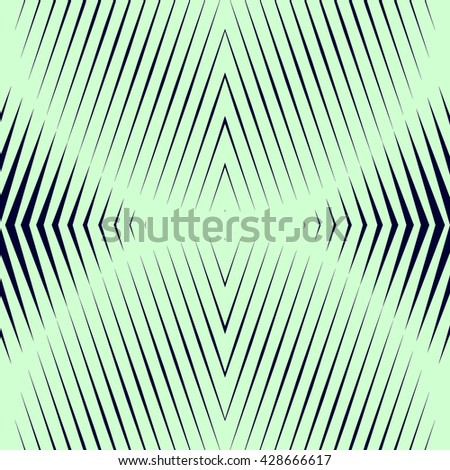 Pattern with symmetric geometric ornament. Black sharp lines and geometrical form spheres abstract background. Optical illusion effect wallpaper. Vector illustration - stock vector