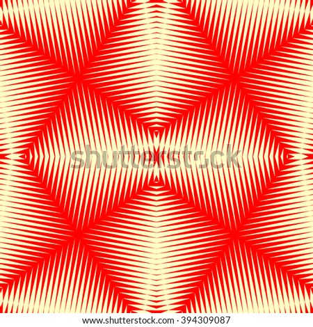 Pattern with symmetric geometric ornament. Polygons red white abstract background. Geometrical figures abstract. Abstract repeated wallpaper. Vector illustration - stock vector