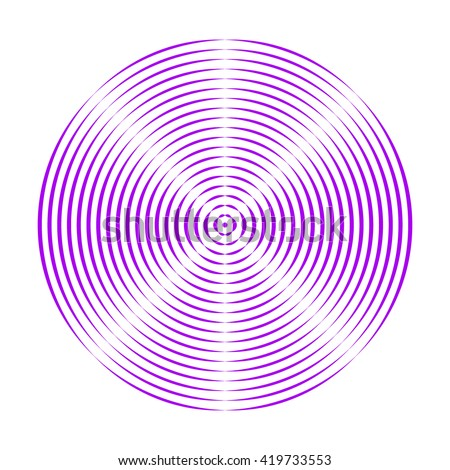 Pattern with symmetric geometric ornament. Purple violet dash round lines abstract background. 3d optical illusion effect wallpaper. Vector illustration - stock vector