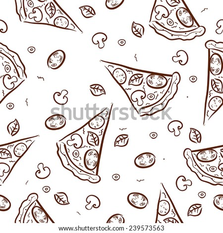 Pattern with tasty pizza ans italian pizza ingredients.Vector seamless background. - stock vector