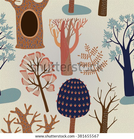 Pattern with trees. Vector illustration - stock vector