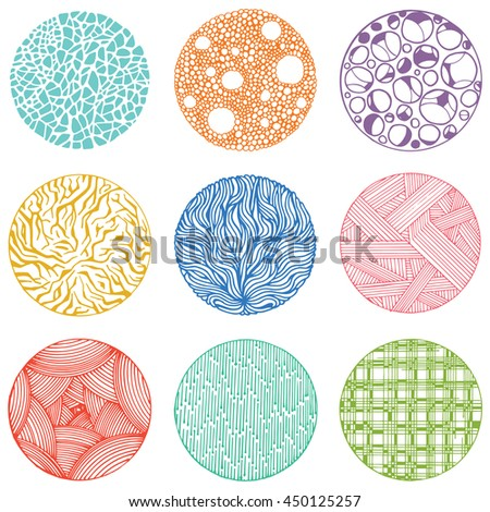 Pattern with vector doodle circles texture. Abstraction illustration. - stock vector