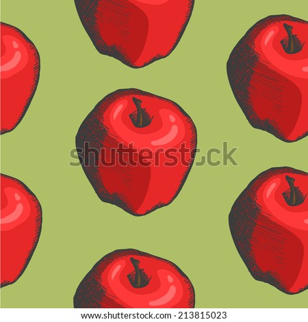 pattern with vector hand drown apple - stock vector