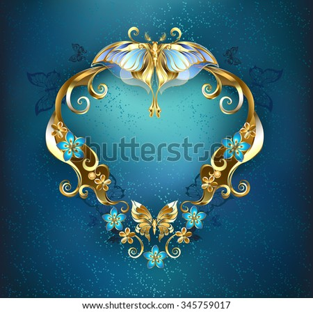 patterned banner, decorated with gold and gold flowers and butterflies on a blue background.