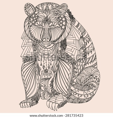 Patterned bear zentangle style. Good for T-shirt, bag or whatever print. Vector illustration - stock vector