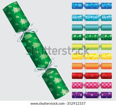 Patterned Christmas cracker set in vector format. - stock vector