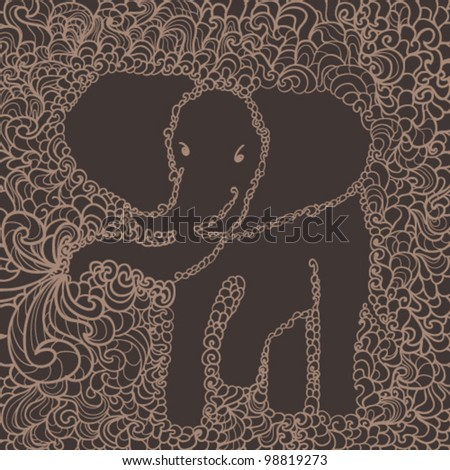 patterned elephant - stock vector