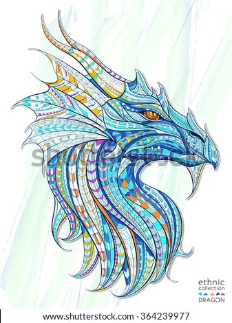 Patterned head of the dragon on the grunge background. African / indian / totem / tattoo design. It may be used for design of a t-shirt, bag, postcard, a poster and so on.   - stock vector