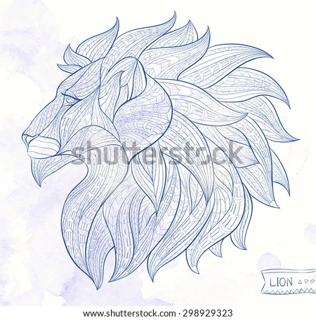 Patterned head of the lion on the grunge background. African / Indian / totem / tattoo design. It may be used for design of a t-shirt, print, bag, postcard, a poster and so on.   - stock vector