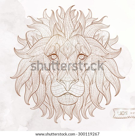 Patterned head of the lion on the grunge background. African / indian / totem / tattoo design. It may be used for design of a t-shirt, bag, postcard, a poster and so on.   - stock vector