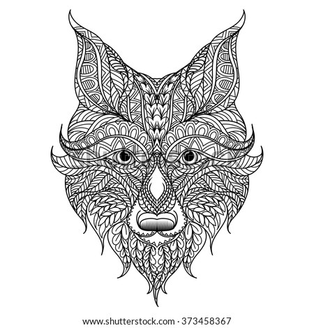 Patterned head of the red fox, Adult antistress coloring page. Black ...