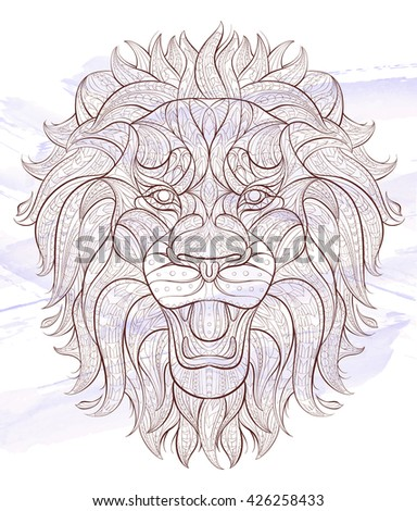 Patterned head of the roaring lion on the grunge background. African / indian / totem / tattoo design. It may be used for design of a t-shirt, bag, postcard, a poster and so on.   - stock vector