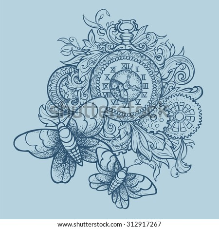 Patterned vintage clock with precious ornaments and gears and two moths.  Dot work - stock vector