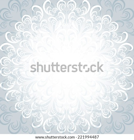 patterned winter Christmas card vector background snowflake circle frozen - stock vector