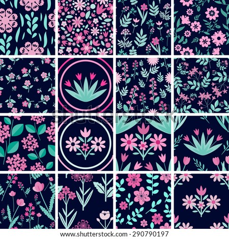 Patterns set with decorative pink flowers - stock vector
